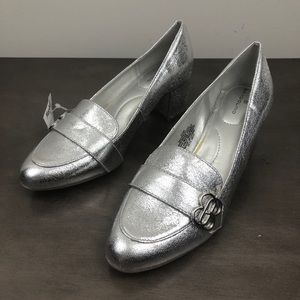 Bandolino Sliver Metallic Block Heel Loafers